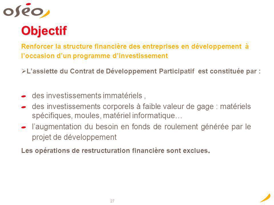 27 Objectif des investissements immatériels, des investissements corporels à faible valeur de gage : matériels spécifiques, moules, matériel informati
