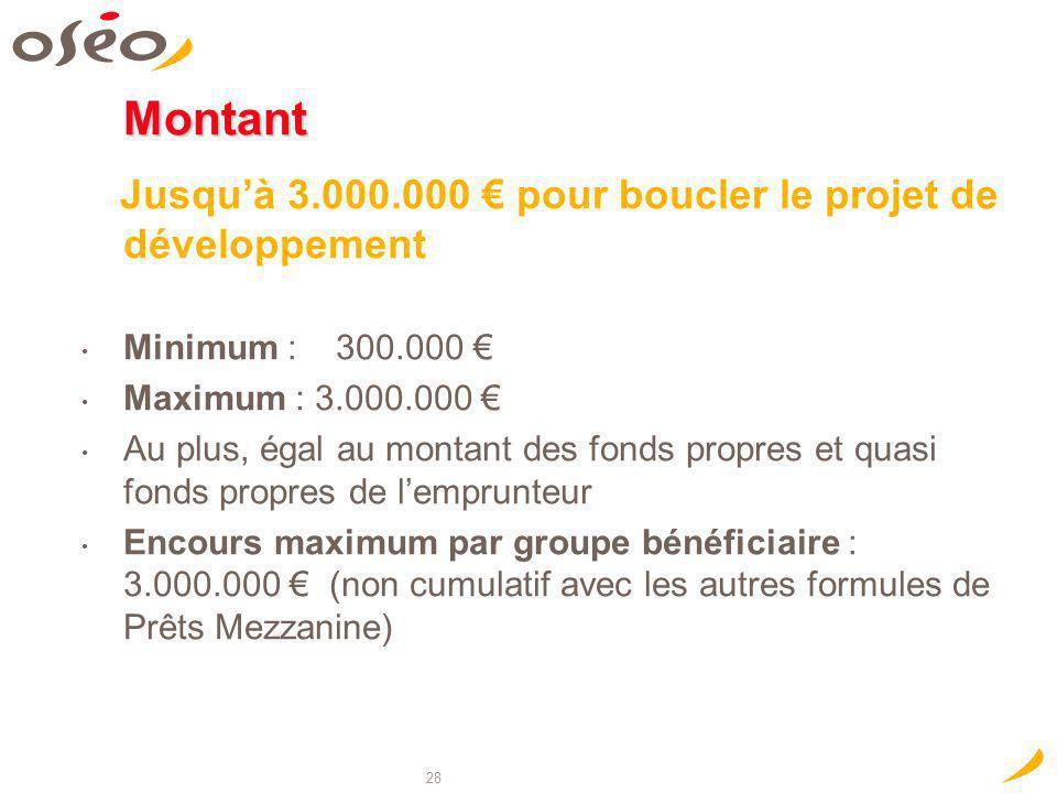 28 Montant Jusquà 3.000.000 pour boucler le projet de développement Minimum : 300.000 Maximum : 3.000.000 Au plus, égal au montant des fonds propres e