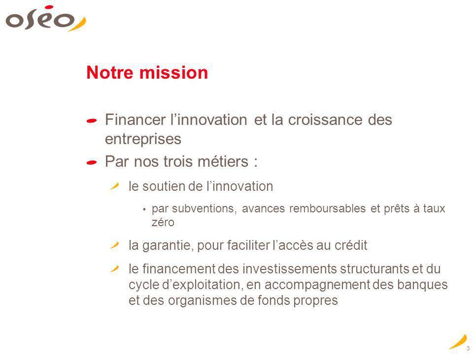 3 Notre mission Financer linnovation et la croissance des entreprises Par nos trois métiers : le soutien de linnovation par subventions, avances rembo