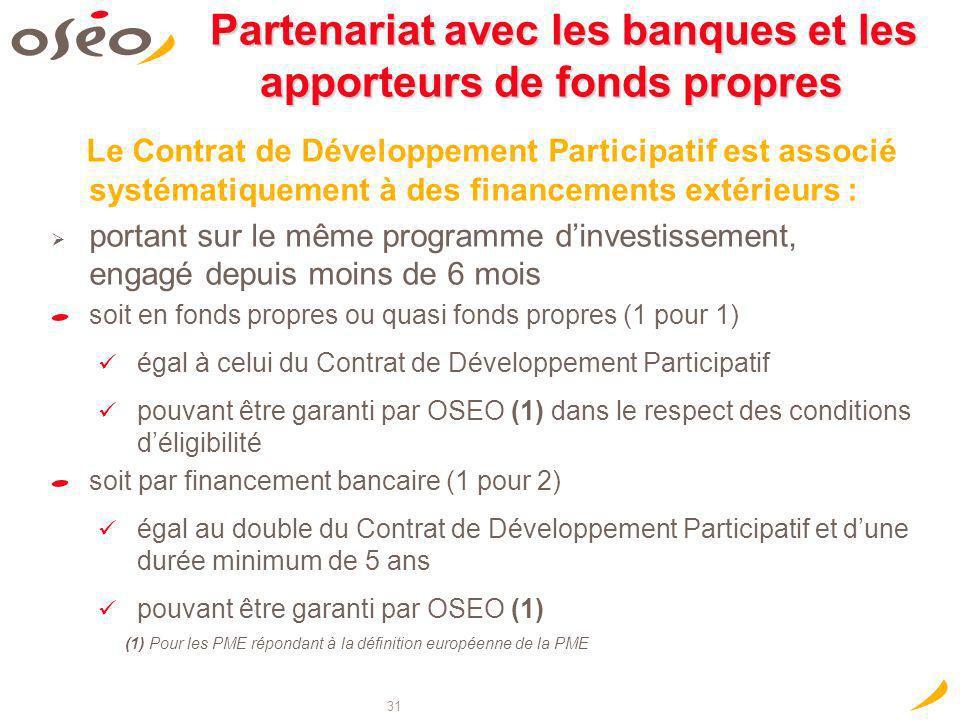 31 Partenariat avec les banques et les apporteurs de fonds propres Partenariat avec les banques et les apporteurs de fonds propres Le Contrat de Dével