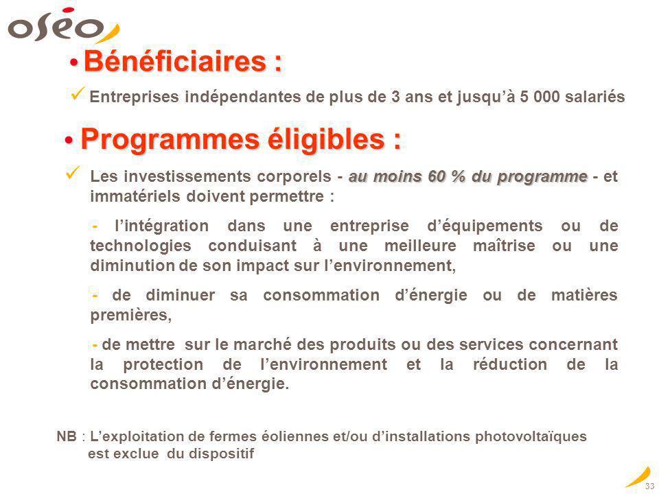 33 Bénéficiaires : Bénéficiaires : Entreprises indépendantes de plus de 3 ans et jusquà 5 000 salariés Programmes éligibles : Programmes éligibles : a