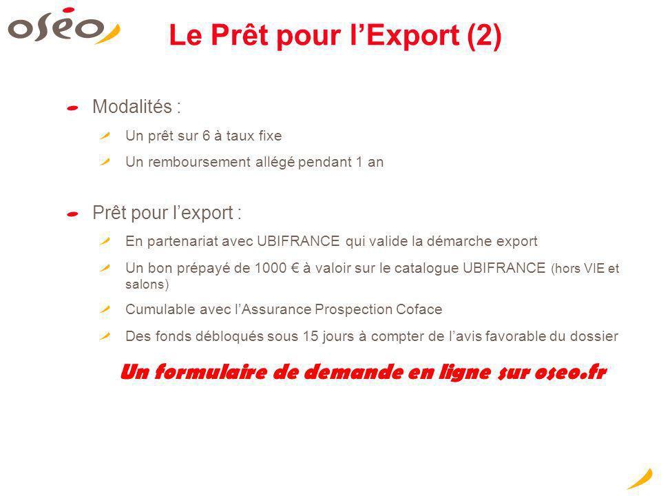 Le Prêt pour lExport (2) Modalités : Un prêt sur 6 à taux fixe Un remboursement allégé pendant 1 an Prêt pour lexport : En partenariat avec UBIFRANCE