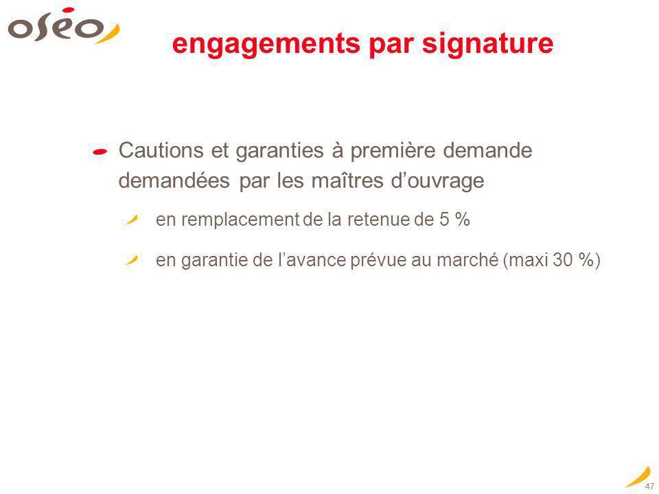 47 engagements par signature Cautions et garanties à première demande demandées par les maîtres douvrage en remplacement de la retenue de 5 % en garan