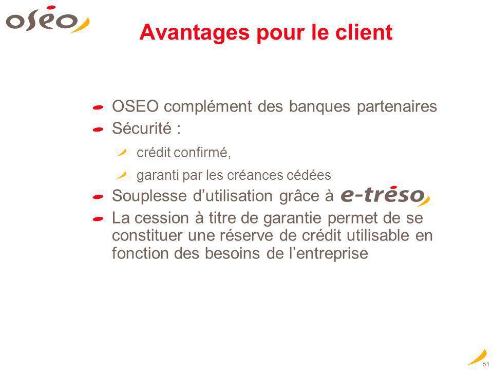 51 Avantages pour le client OSEO complément des banques partenaires Sécurité : crédit confirmé, garanti par les créances cédées Souplesse dutilisation