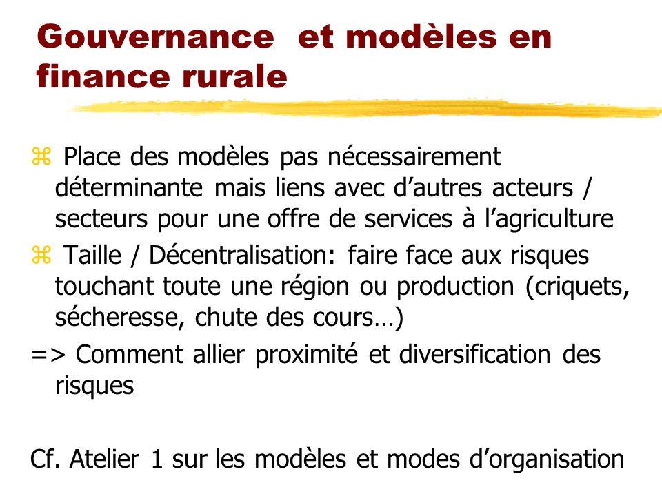 Gouvernance et modèles en finance rurale z Place des modèles pas nécessairement déterminante mais liens avec dautres acteurs / secteurs pour une offre