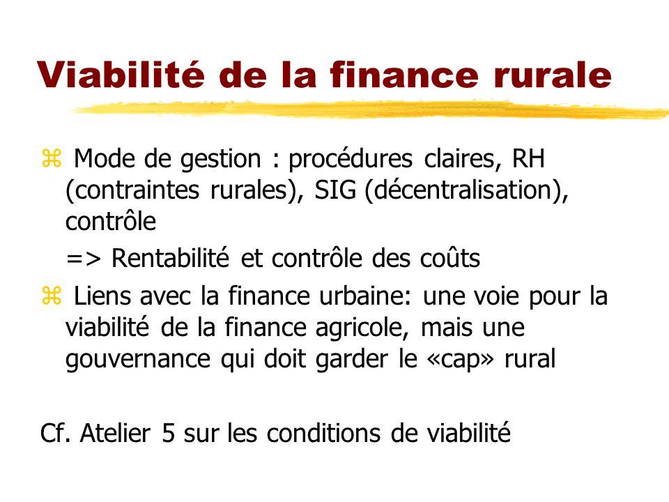 Viabilité de la finance rurale z Mode de gestion : procédures claires, RH (contraintes rurales), SIG (décentralisation), contrôle => Rentabilité et co