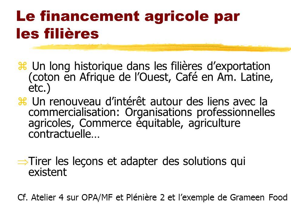 Le financement agricole par les filières z Un long historique dans les filières dexportation (coton en Afrique de lOuest, Café en Am. Latine, etc.) z