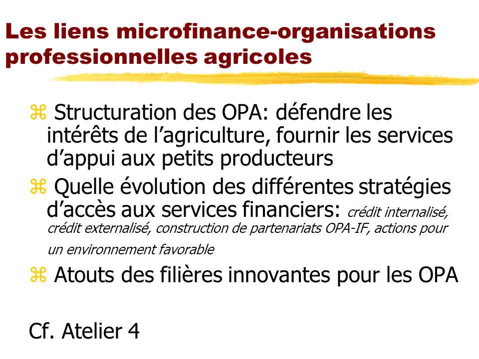 Les liens microfinance-organisations professionnelles agricoles z Structuration des OPA: défendre les intérêts de lagriculture, fournir les services d