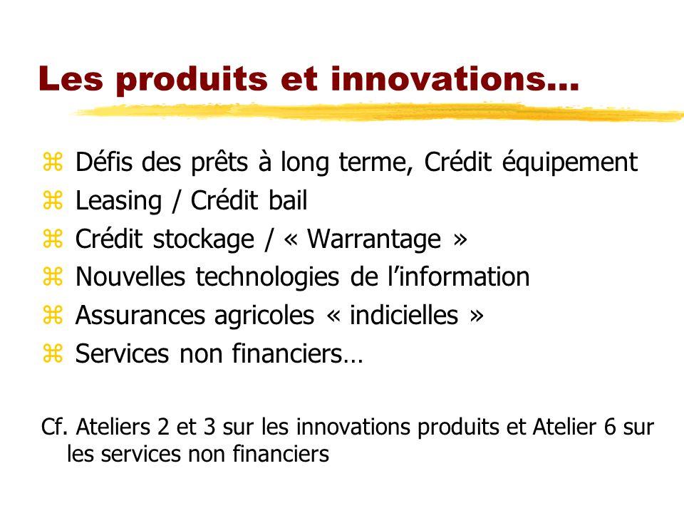 Les produits et innovations… z Défis des prêts à long terme, Crédit équipement z Leasing / Crédit bail z Crédit stockage / « Warrantage » z Nouvelles