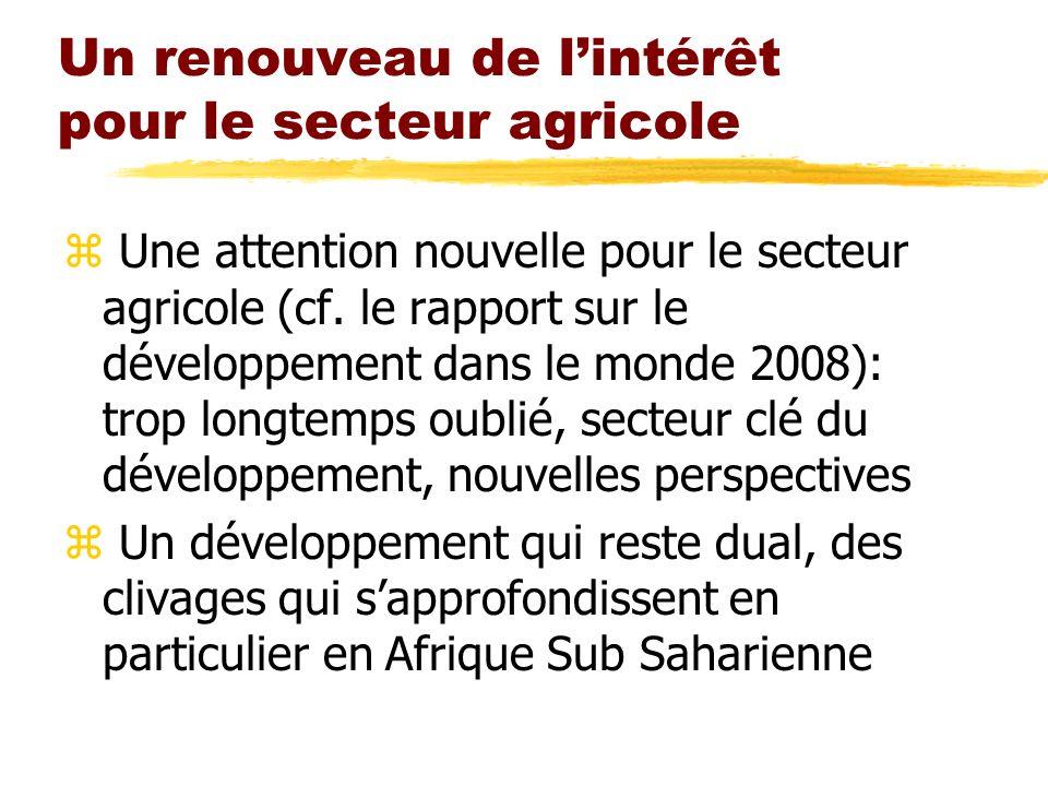 Un renouveau de lintérêt pour le secteur agricole z Une attention nouvelle pour le secteur agricole (cf. le rapport sur le développement dans le monde