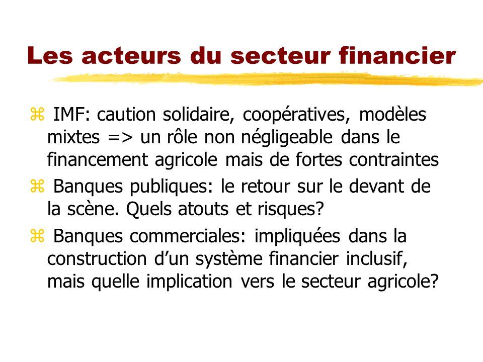 Les acteurs du secteur financier z IMF: caution solidaire, coopératives, modèles mixtes => un rôle non négligeable dans le financement agricole mais d