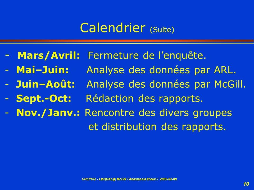 CREPUQ - LibQUAL@ McGill / Anastassia khouri / 2005-02-09 10 Calendrier (Suite) - Mars/Avril: Fermeture de lenquête. - Mai–Juin: Analyse des données p