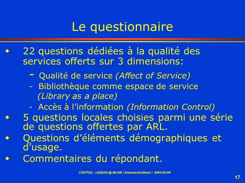 CREPUQ - LibQUAL@ McGill / Anastassia khouri / 2005-02-09 17 Le questionnaire 22 questions dédiées à la qualité des services offerts sur 3 dimensions: