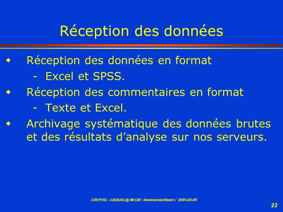 CREPUQ - LibQUAL@ McGill / Anastassia khouri / 2005-02-09 23 Réception des données Réception des données en format - Excel et SPSS. Réception des comm