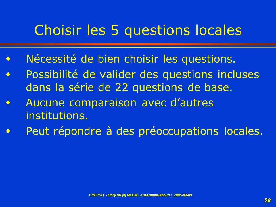 CREPUQ - LibQUAL@ McGill / Anastassia khouri / 2005-02-09 28 Choisir les 5 questions locales Nécessité de bien choisir les questions. Possibilité de v