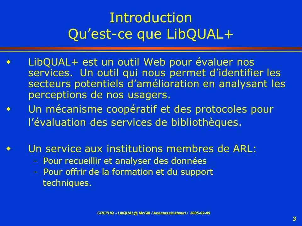 CREPUQ - LibQUAL@ McGill / Anastassia khouri / 2005-02-09 3 Introduction Quest-ce que LibQUAL+ LibQUAL+ est un outil Web pour évaluer nos services. Un