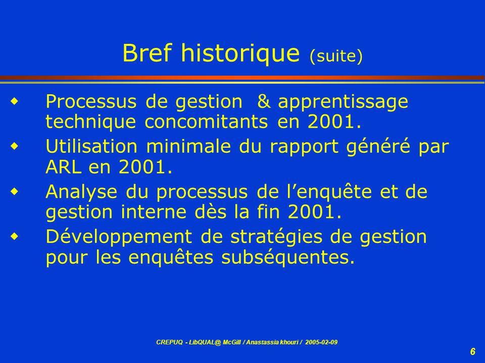 CREPUQ - LibQUAL@ McGill / Anastassia khouri / 2005-02-09 6 Bref historique (suite) Processus de gestion & apprentissage technique concomitants en 200