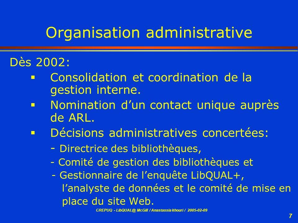 CREPUQ - LibQUAL@ McGill / Anastassia khouri / 2005-02-09 8 Organisation administrative (suite) Organisation dun site Web pour la distribution sélective: »des résultats des données numériques analysées.
