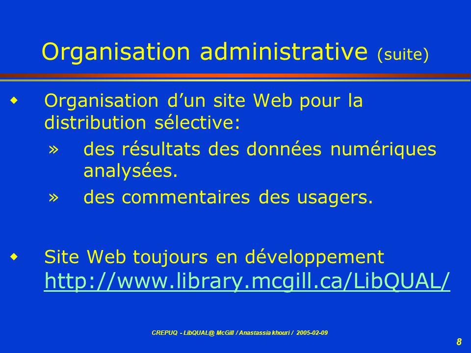 CREPUQ - LibQUAL@ McGill / Anastassia khouri / 2005-02-09 19 Déploiement de lenquête LibQUAL+ Processus de marketing sur le campus - Article dans les journaux universitaires - Annonce sur le site Web de lUniversité et des Bibliothèques Ouverture de lenquête - Lettre dinvitation de la directrice des bibliothèques envoyée aux répondants (échantillon) avec laccès Web - Rappel envoyé