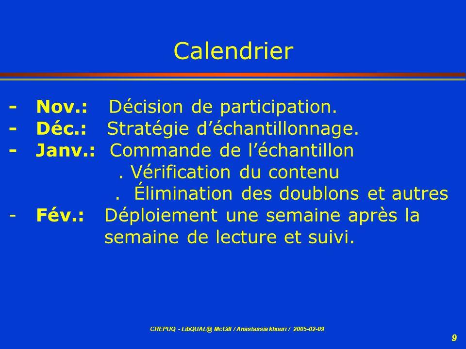 CREPUQ - LibQUAL@ McGill / Anastassia khouri / 2005-02-09 9 Calendrier - Nov.: Décision de participation. - Déc.: Stratégie déchantillonnage. - Janv.: