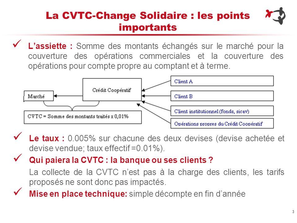 3 La CVTC-Change Solidaire : les points importants Lassiette : Somme des montants échangés sur le marché pour la couverture des opérations commerciale