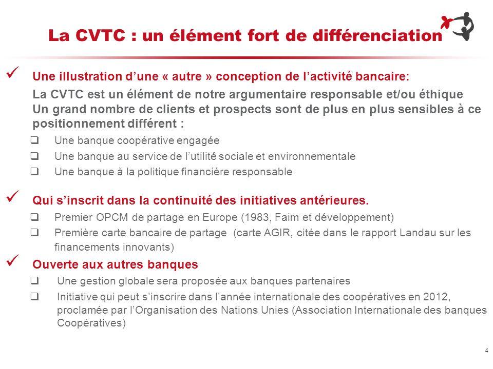 4 La CVTC : un élément fort de différenciation Une illustration dune « autre » conception de lactivité bancaire: La CVTC est un élément de notre argum