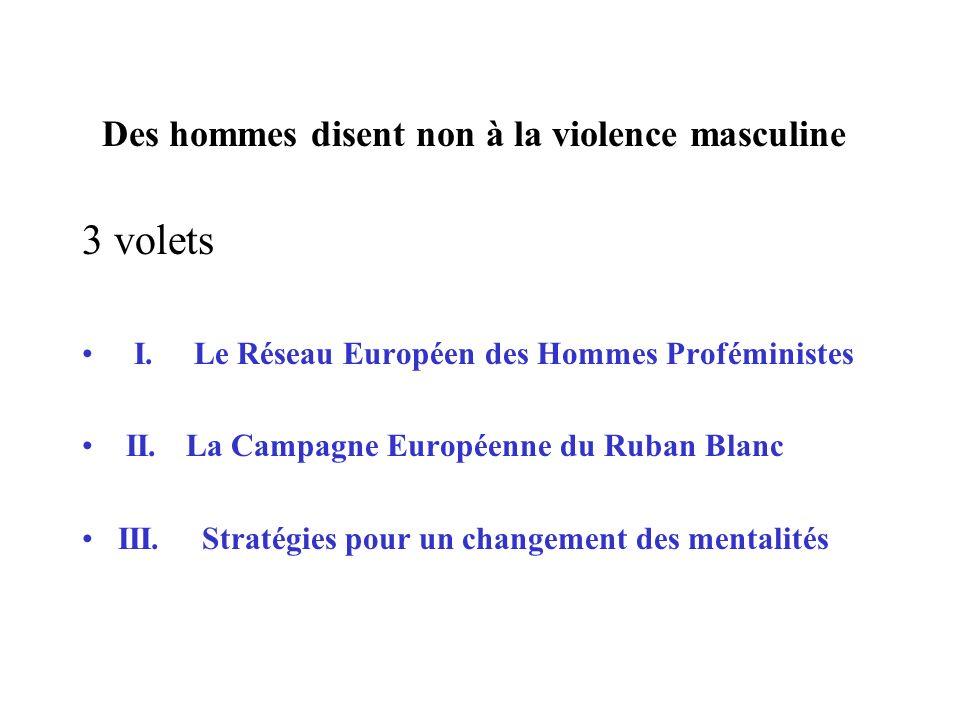Des hommes disent non à la violence masculine 3 volets I. Le Réseau Européen des Hommes Proféministes II. La Campagne Européenne du Ruban Blanc III. S