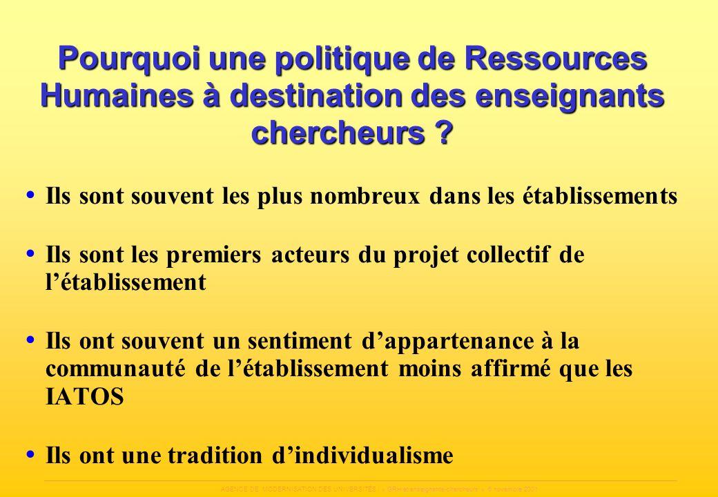 AGENCE DE MODERNISATION DES UNIVERSITÉS / « GRH et enseignants-chercheurs » 6 novembre 2001 Pourquoi une politique de Ressources Humaines à destinatio