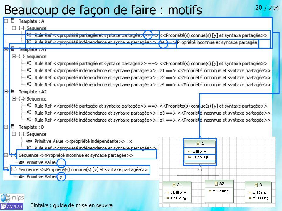 Sintaks : guide de mise en œuvre / 294 20 Beaucoup de façon de faire : motifs