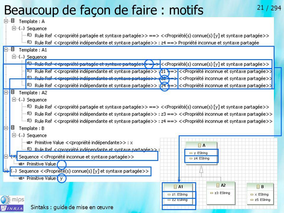 Sintaks : guide de mise en œuvre / 294 21 Beaucoup de façon de faire : motifs