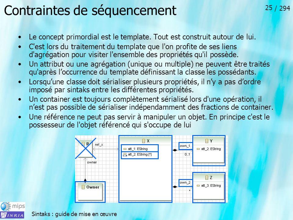 Sintaks : guide de mise en œuvre / 294 25 Contraintes de séquencement Le concept primordial est le template.