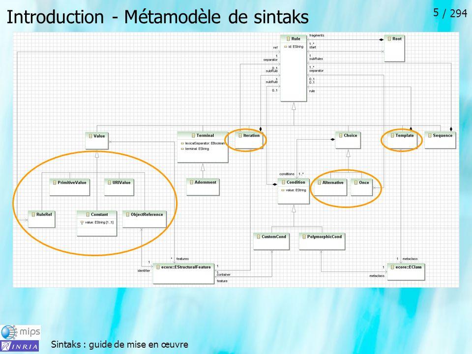 Sintaks : guide de mise en œuvre / 294 5 Introduction - Métamodèle de sintaks