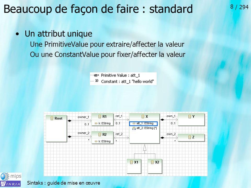 Sintaks : guide de mise en œuvre / 294 8 Beaucoup de façon de faire : standard Un attribut unique Une PrimitiveValue pour extraire/affecter la valeur Ou une ConstantValue pour fixer/affecter la valeur