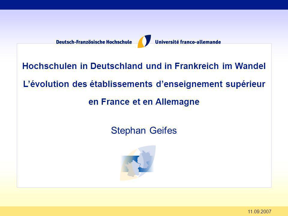 19.12.2013 Deux pays – deux paysages denseignement supérieur riches et variés En Allemagne: - universités (96) - Fachhochschulen (FH) (154) In Frankreich: - Universitäten (104) - Grandes Ecoles (500)