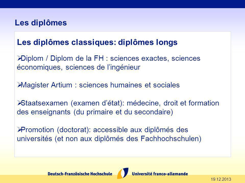 19.12.2013 Les diplômes Les diplômes classiques: diplômes longs Diplom / Diplom de la FH : sciences exactes, sciences économiques, sciences de lingéni