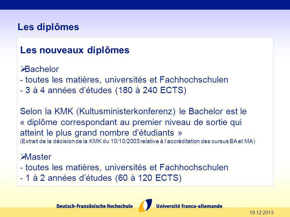19.12.2013 Les diplômes Les nouveaux diplômes Bachelor - toutes les matières, universités et Fachhochschulen - 3 à 4 années détudes (180 à 240 ECTS) S