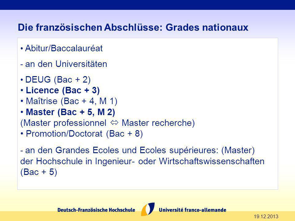 19.12.2013 Die französischen Abschlüsse: Grades nationaux Abitur/Baccalauréat - an den Universitäten DEUG (Bac + 2) Licence (Bac + 3) Maîtrise (Bac +