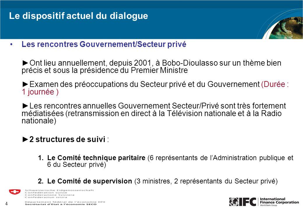4 Le dispositif actuel du dialogue Les rencontres Gouvernement/Secteur privé Ont lieu annuellement, depuis 2001, à Bobo-Dioulasso sur un thème bien pr