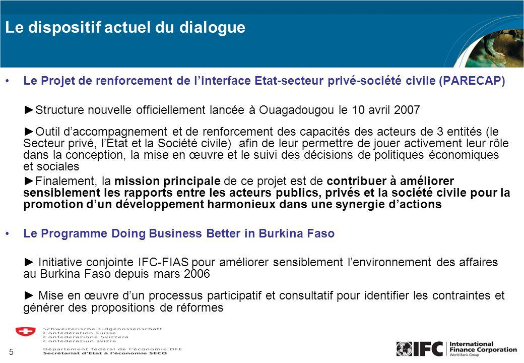 5 Le dispositif actuel du dialogue Le Projet de renforcement de linterface Etat-secteur privé-société civile (PARECAP) Structure nouvelle officielleme