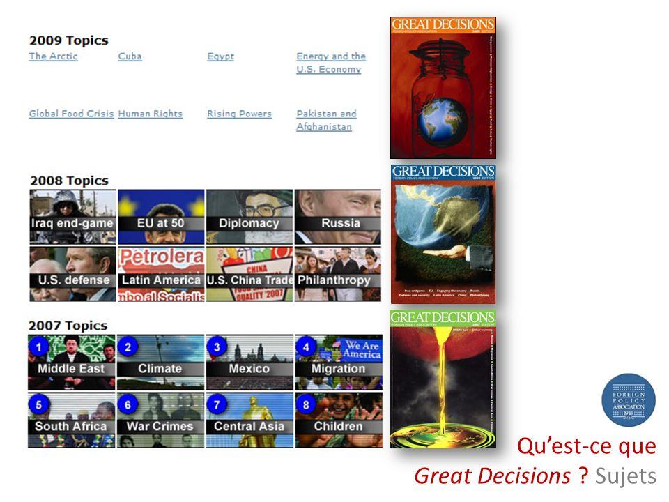 www.alliance-us.org Great Decisions 2007 Version française Les États-Unis au Moyen-Orient Le Changement climatique et le réchauffement planétaire Les Migrations internationales dans le contexte de la mondialisation de l économie Venir en aide à l enfance en danger