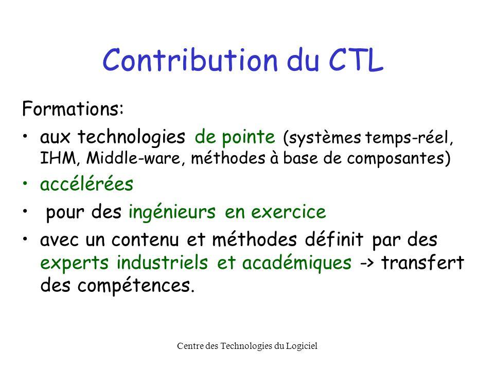 Centre des Technologies du Logiciel Contribution du CTL Formations: aux technologies de pointe (systèmes temps-réel, IHM, Middle-ware, méthodes à base