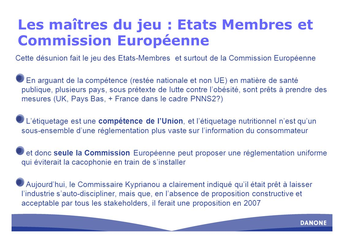 Les maîtres du jeu : Etats Membres et Commission Européenne Cette désunion fait le jeu des Etats-Membres et surtout de la Commission Européenne En arg