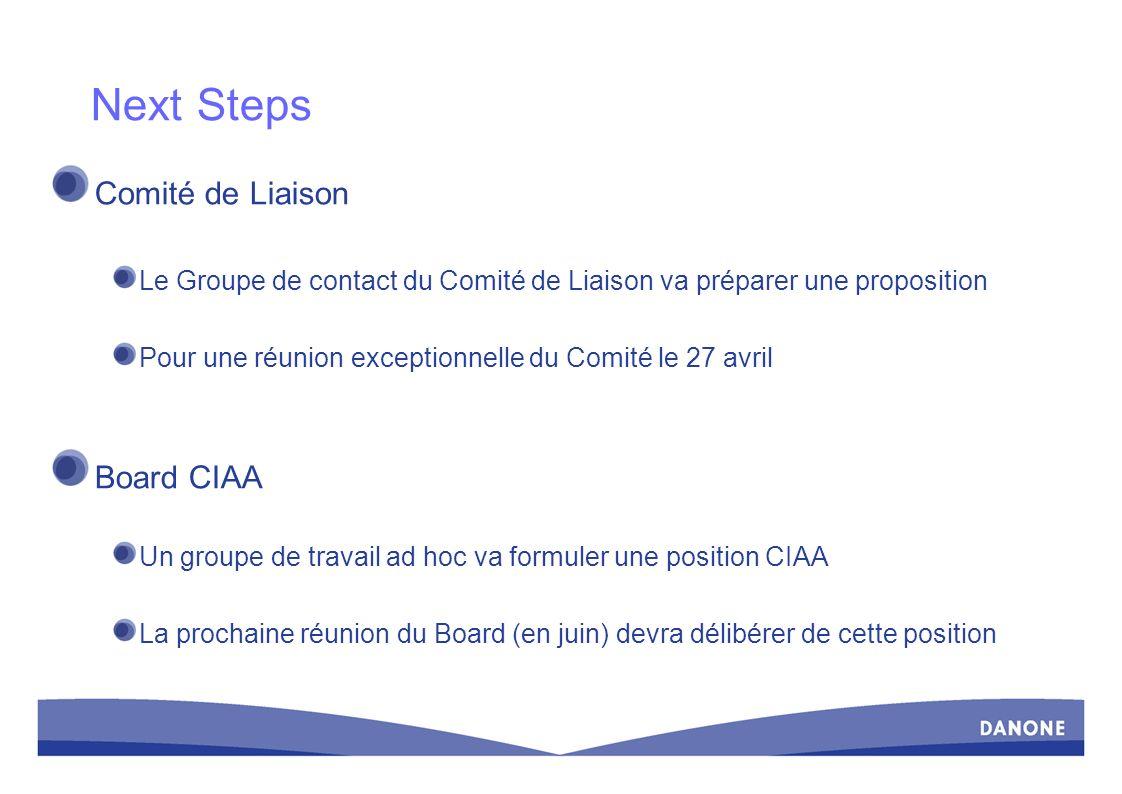 Next Steps Comité de Liaison Le Groupe de contact du Comité de Liaison va préparer une proposition Pour une réunion exceptionnelle du Comité le 27 avr
