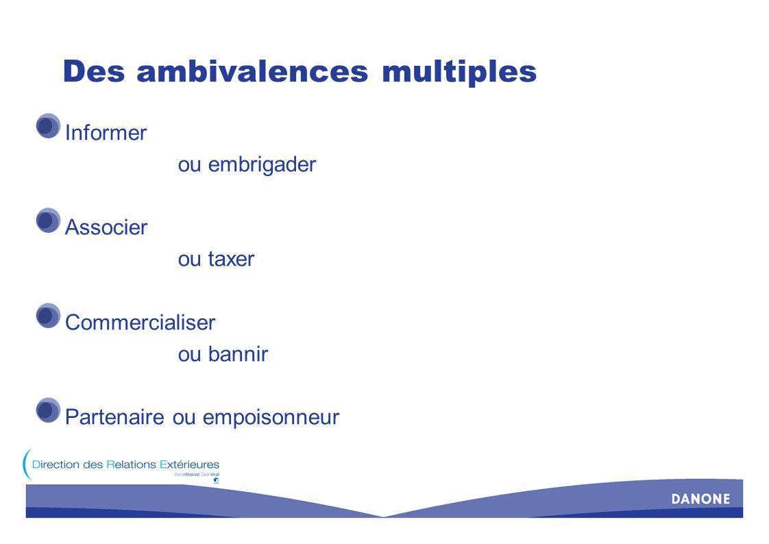 Des ambivalences multiples Informer ou embrigader Associer ou taxer Commercialiser ou bannir Partenaire ou empoisonneur