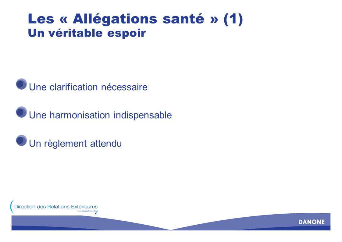 Les « Allégations santé » (2) Des progrès indéniables Une définition des allégations Type dallégation Champ des allégations Une procédure de « validation » « profils nutritionnels » dossier scientifique