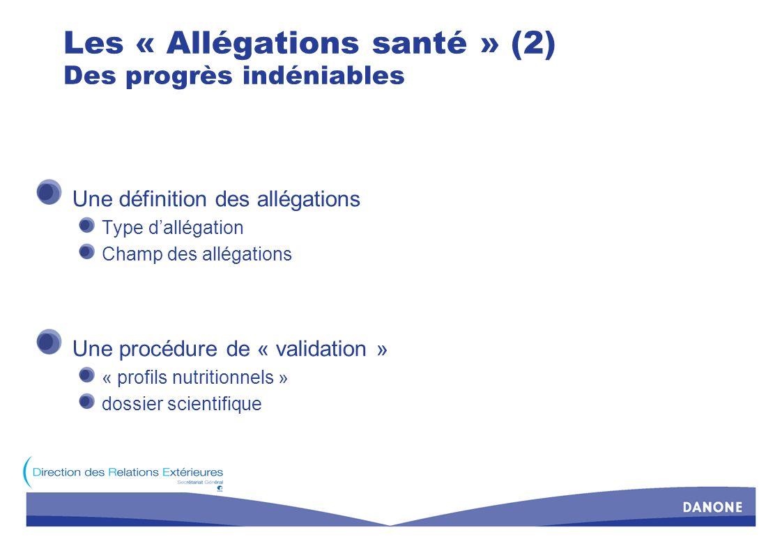 Les « Allégations santé » (2) Des progrès indéniables Une définition des allégations Type dallégation Champ des allégations Une procédure de « validat