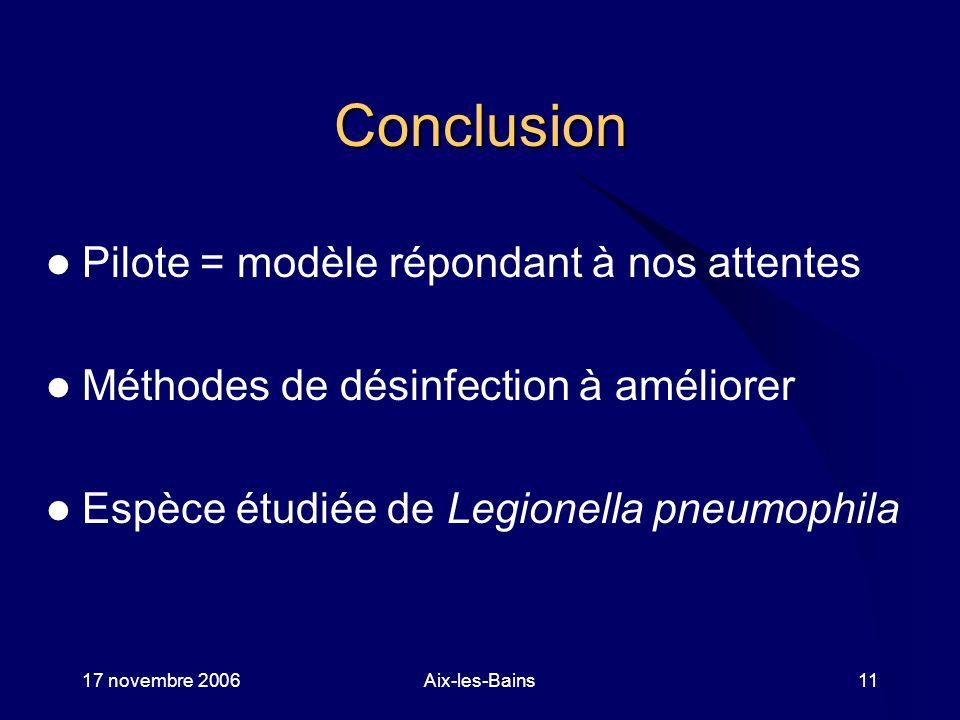 17 novembre 2006Aix-les-Bains11 Conclusion Pilote = modèle répondant à nos attentes Méthodes de désinfection à améliorer Espèce étudiée de Legionella