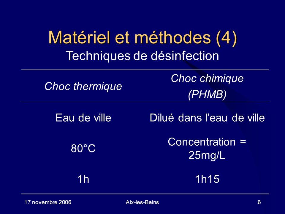 17 novembre 2006Aix-les-Bains6 Matériel et méthodes (4) Techniques de désinfection Choc thermique Choc chimique (PHMB) Eau de villeDilué dans leau de
