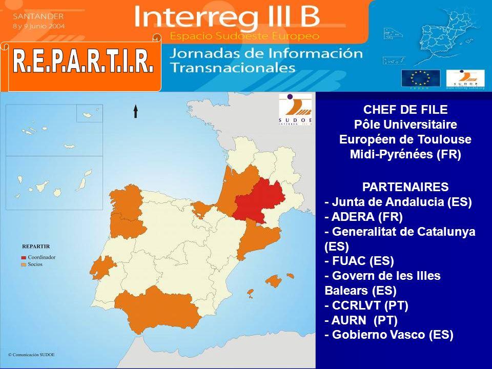 CHEF DE FILE Pôle Universitaire Européen de Toulouse Midi-Pyrénées (FR) PARTENAIRES - Junta de Andalucia (ES) - ADERA (FR) - Generalitat de Catalunya
