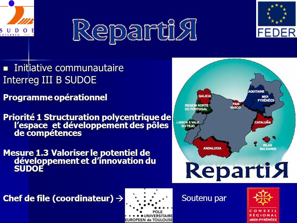 Initiative communautaire Initiative communautaire Interreg III B SUDOE Programme opérationnel Priorité 1 Structuration polycentrique de lespace et dév